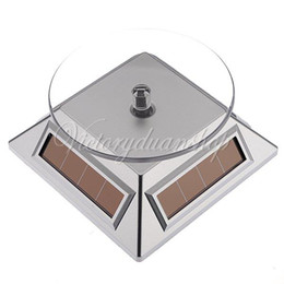 Wholesale Rotating Earrings Display - Free Shipping 3pcs Silver 360 Rotating Solar Powered Cell Phone Watch Jewelry Turntable Turn Table Plate Display Stand,dandys
