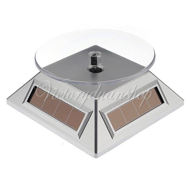 Silver 360 Rotating Solar Powered Cell Phone Watch Jewelry Turntable Turn Table Plate Display Stand,dandys