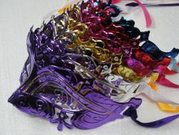 Máscara da Mulher dos homens Máscaras de Halloween Masquerade Mardi Gras Venetian Dance Party Rosto de ouro brilhante Banhado Máscara 6 cores venda por atacado