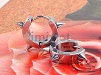 Wholesale Mens Cross Earrings Studs - New Arrival 5pairs Per Lot Silver Tone Stainless Steel Stud Hoop Mens Earrings Jewelry Free Shipping