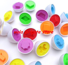 Wholesale Baby Matching Eggs - hot-sale exercise 6 pcs in Blister packaging Puzzle Eggs Match Shapes Baby Kid Match Wise Smart Learning Kitchen Toy free shipping