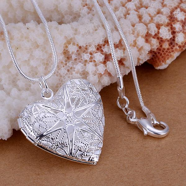 top popular Heart Photo Lockets pendants necklace 20'' chains 925 sterling silver p185 For Holidays Gift 2021