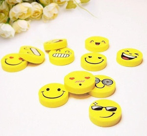 Wholesale Funny Smile Face Erasers Novelty School Correction Supplies Children Gifts Lovely Yellow