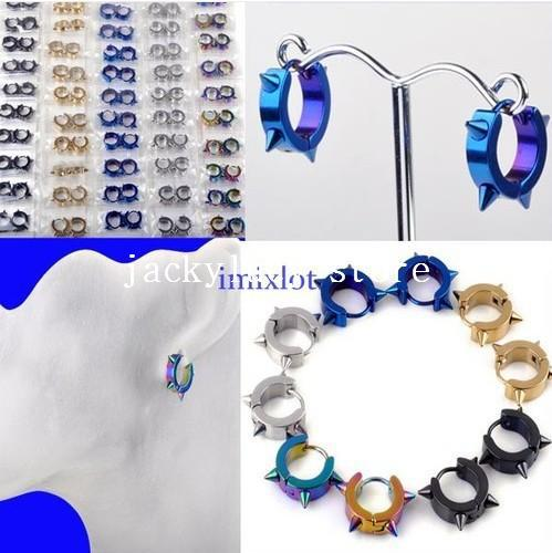 New Arrival Mixed 30Pairs Spike Punk Stainless Steel Earrings Stud Hoop Huggie 4MM [E155-E159*6] Free Shipping