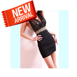 Wholesale Tight Fitting Clothes Sexy - Free Shipping 2013 Sexy Dress Short Tight Prom Mini Luxury Bodycon Fit Satin Women Clothes Fashion Evening New Arrival Summer
