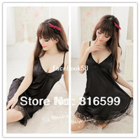 Wholesale Babydoll Plus - Free Shipping Black Lace Sleepwear Super Sexy Babydoll Plus Size Lingerie Long Skirt Lace Sexy Costume Wholesale Dropship US1517