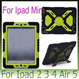 Pepkoo Defender Military Spider Stand Water dirt shock Proof Case Cover for Ipad 2 3 4 5 6 Air Mini 1 2 3