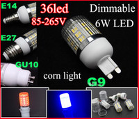 Wholesale Blue Bulb Covers - LED Corn Light E14 E27 G9 GU10 Base 85-265V 6W 36* 5050 SMD Cover Dimmable LED Light Bulb With Cover Corn Light White Warm White Lamp