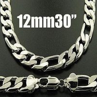 Wholesale King Chain 925 - Fashion Men's Necklace 1pcs King-Size Men's Figaro Chains 925 Sliver Necklace 12mm 30inch 76cm Hot Sale Free Shipping
