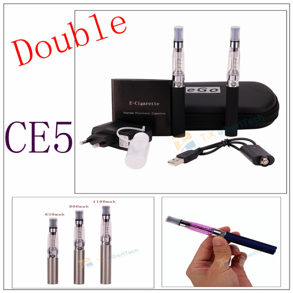 Doble CE5 Ego Starter Big Kit atomizador E-cigarrillo E Cig Cigarrillo electrónico ego t Batería 650 900 1100mah Con estuche de cremallera pluma vape