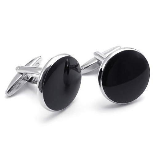 Whitney_houston Jewelry Men's Classic Round Tuxedo Cufflinks and Studs Set, Color Black Silver Drop