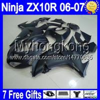 carenagem ninja zx venda por atacado-7gifts corpo para kawasaki preto fosco ninja zx10r 06-07 zx-10r zx 10r 10 r 20 # y35 06 07 tudo preto liso 2006 2007 carenagem kit livre personalizado