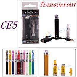 Wholesale Electronic Vapor Set - E-cigarette Ego starter kit eGo-C Twist Adjustable battery CE5+ no wick atomizer Vapor Electronic cigarette blister case EGO-T Clearomizer