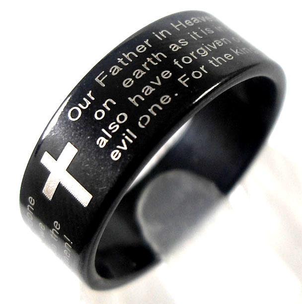 Wyprzedaż 25 sztuk angielski panów modlitwa krzyż stal nierdzewna pierścienie męskie biżuteria partie