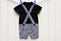 Wholesale Infant Boys Bowtie Rompers - Summer Baby Boys Gentle Style Plaid Bowtie One-piece Rompers Kids Infant Clothing Shorts Jumpsuit Boy Grid High Quality Climb Clothes H0288