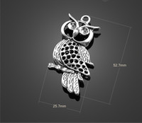 Wholesale Hollow Owl Necklace - 13353 vintga unique hollow out owl Charms Necklace Pendants earrings Pendants DIY Charms Jewelry Findings & Components for free shipping