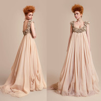 Wholesale White Rose Dress Decoration - Vintage Champagne Pageant Dresses Low Square Neck Cap Sleeve with Rose Decoration Sweep Train Low Back Evening Gowns 2014