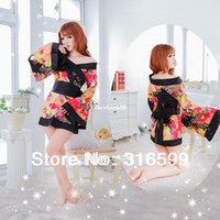 japonca seks düşer toptan satış-Lingerie Ücretsiz Kargo Japon kimono elbiseler kızlar seks görüntü bebek bebek kostüm japon seksi öğretmen kimono Toptan Bırak gemi US1674
