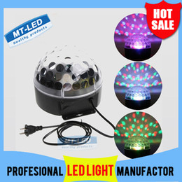 Wholesale Laser Stage Ball - Free shipping new arrival Voice-activated RGB LED Crystal Magic Ball laser DJ party Stage Lighting bulb Effect mini stage light lamp