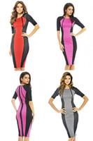 Wholesale Elegant Knee Length Slim Dresses - 2014 Free Shipping, Women Dresses New Fashion Elegant Celeb O-neck Short Sleeve Knee-length Patchwork Geometry Pencil Party Slim Work Dress