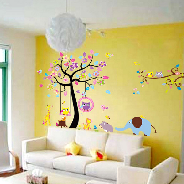 Free Shipping New Design Large Tree Wall Stickers Animal Paradise Nursery  Decals Baby Room Wall Decor Part 47