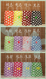 Wholesale Dots Paper - Free shipping 12 Color, Polka dot kraft paper bag & Festival gift package, Fashionable gift paper bag, 27*21*11cm