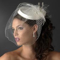 güzel gelin peçe toptan satış-Yeni Güzel Yüksek Kalite Gelin Şapkalar Beyaz Birdcage Gelin Çiçek Tüyler Fascinator Gelin Düğün Yüz Şapka Veils Ücretsiz Kargo
