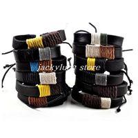 Wholesale Surfer Braided Leather Bracelet - New Vintage Men Women Hemp Surfer Handmade Braid Leather Friendship Bracelet Wristband[B660M*12]
