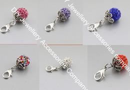 Wholesale Dangles For Living Lockets - 90pcs mixed 15 colors Rhinestone bead Dangle for Floating Charm Living Locket&Charm Bracelets