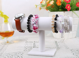 Wholesale Display Stands For Watches - Jewelry T-Bar Display for Bracelets and Watches, White Leatherette,
