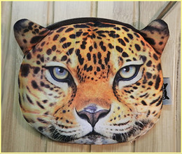 Discount cartoon animal heads - New fashion animal head Coin Purse Tiger Leopard Lion purse coin zipper card bag key bag hot 15pcs lot