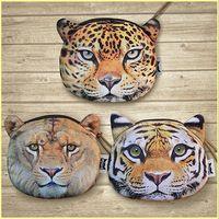 Wholesale Tiger Stripe Bag - New fashion cartoon wallets animal head Coin Purse Tiger Leopard Lion purse coin zipper card bag key bag