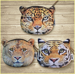 Wholesale Tiger Fabric Wholesale - New fashion cartoon wallets animal head Coin Purse Tiger Leopard Lion purse coin zipper card bag key bag