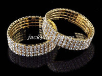 Wholesale Pave Diamond Bracelet Wholesale - Promotion 6pcs lot 4 row Micro pave clear CZ crystal charm bracelet Wholesale jewellery Gold Plated [B420*6]