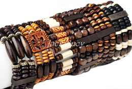 Bracelets en bois en Ligne-12pcs gros style mixte en bois perles en bois Lady Bracelet Bracelet élastique manchette