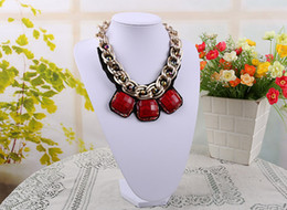 "Wholesale Leather Display Bust - Graceful Necklace Bust Jewelry Display White Leatherette 8.3"" H"