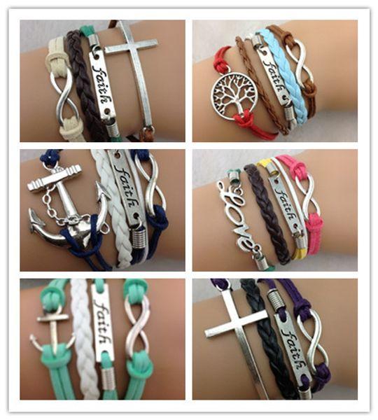 6 design anchor faith cross love infinity bracelets cuff bangle Charm Bracelet Leather Braid bracelets jewelry DF141