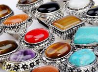 gemischte edelstein-steinringe großhandel-Massen 30pcs mischten silbernes P-Imitat-großen Edelstein-Ring-Großhandelsschmucksache-Los-neue Ankunft Freies Verschiffen