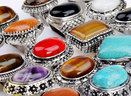 Bulks 30pcs Mixed Silver P Faux Big Gem Stone Rings Wholesale Jewellery Lots New Arrival Free Shipping