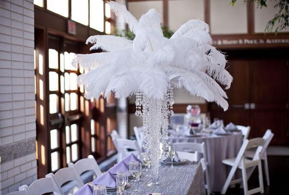 White Ostrich Feather Centerpieces Interior Design 3d