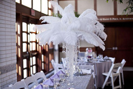 Wholesale Free Wedding Decor - Free Shipping 12-14inch White Ostrich Feathers plumes Wedding centerpiece decoraction Wedding Table centerpiece party event decor