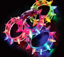 Wholesale Light Up Bracelet Kids - NEW HOT Led Light Up Party Blinking Flashing Spike Bracelet Wedding Bar Rave Blinking Flashing Light gift FOOT Carnival Necklace Toys