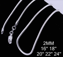 Wholesale Dogs Silicone Tags - 2mm Thick snake chains 50pcs lot Mixed 16'' 18'' 20'' 22'' 24'' Short Long chains width c010 925 sterling silver For Pendants charms Gift