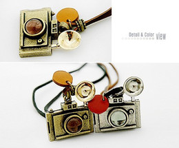 Wholesale Camera Pendant Charm - New! Cute Vintage Crystal Camera pendants Necklaces Sweater Chain Fashion Long Style Women's Necklaces New 30pcs lot