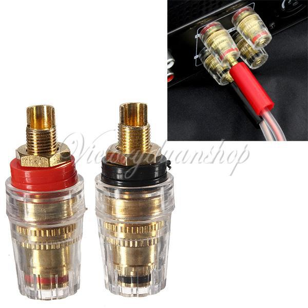 2Pcs Amplifier Speaker Cable Terminal Binding Post 4mm Banana Socket Connector