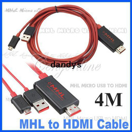 Wholesale Cable Hdmi S2 - 4M MHL Micro USB to HDMI Cable Adapter HDTV for Galaxy S2 i9100 Note i9200 for HTC Sensation EVO 3D Free Shipping,dandys