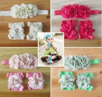 Wholesale Baby Accessories Feet - Baby Chiffon Rhinestone Hair Accessories+feet Accessories 2pcs Set
