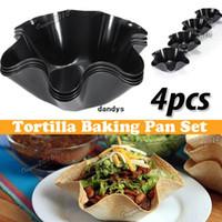 Wholesale Tortilla Pans - 4pcs set Perfect Tortilla Baking Not Fried Mold Pan Salad Plate Hexagonal Cooking Kitchen Non-stick Taco Bowl Bakeware,dandys