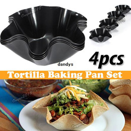 Wholesale Wholesale Frying Pan Sets - 4pcs set Perfect Tortilla Baking Not Fried Mold Pan Salad Plate Hexagonal Cooking Kitchen Non-stick Taco Bowl Bakeware,dandys