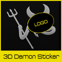 Wholesale Car Emblem Logo Devil - Personalized 3D Evil Devil Style Demon Adhesive Sticker Motor Car Auto Truck Emblem Silver Logo Label Paper Badge Decoration,dandys